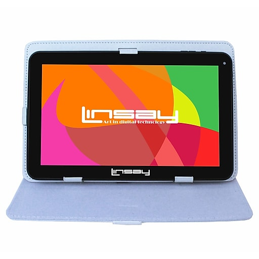 "LINSAY F10 Series 10"" Quad Core Tablet, WiFi, 1GB RAM, Android with White Case (F10XHDBCWHITE)"