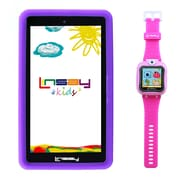 "LINSAY F7KPWP 7"" Quad Core Tablet w/ Purple Kids Defender Case Android and 1.5"" Smart Watch Kids Cam Selfie Pink"