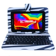 "LINSAY F7XHDBLKZEBRA 7"" Quad Core Tablet w/ Zebra Style Keyboard Android"