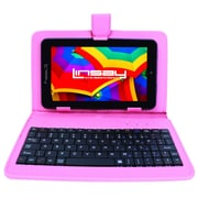 "LINSAY F7XHDBKSPINK 7"" Quad Core Tablet w/ Pink Keyboard Android"