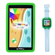 """LINSAY F7KGWG 7"""" Quad Core Tablet w/ Green Kids Defender Case Android and 1.5"""" Smart Watch Kids Cam Selfie Green"""