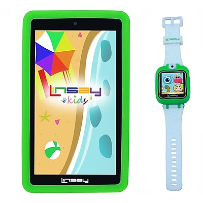 "LINSAY F7KGWG 7"" Quad Core Tablet w/ Green Kids Defender Case Android and 1.5"" Smart Watch Kids Cam Selfie Green"