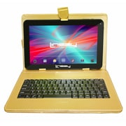 "LINSAY F10XHDBDG 10"" Quad Core Tablet w/ Golden Keyboard Android"
