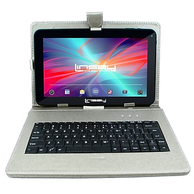 "LINSAY F10XHDBDS 10"" Quad Core Tablet w/ Silver Keyboard Android"