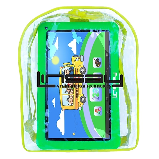 """LINSAY F10 Series 10"""" Quad Core Tablet, WiFi, 1GB RAM, Android with Green Kids Defender Case and Bag Pack (F10XHDKIDSBAGG)"""