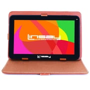 "LINSAY F10XHDBCLBROWN 10"" Quad Core Tablet w/ Brown Case Android"