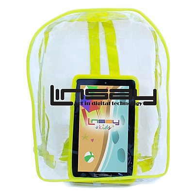 """LINSAY F7XHDKIDSBAG 7"""" Quad Core Tablet w/ Yellow Kids Defender Case and Bag Pack Android"""