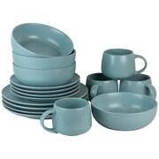 Ten Strawberry Street Wazee Matte 16 Piece Dinnerware Set; Mineral Blue
