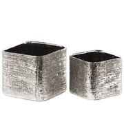 Urban Trends 2 Piece Ceramic Planter Box Set; Electroplated Antique Silver