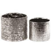 Urban Trends 2 Piece Ceramic Pot Planter Set; Electroplated Antique Silver