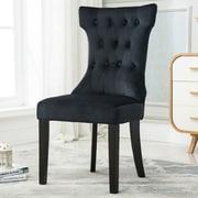 Belleze Premium Nailhead Parson Chair (Set of 2); Black