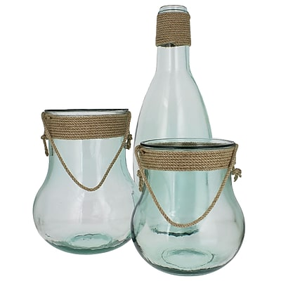 French Home 3 Piece Rope Top Recycled Glass Floor Vase Set WYF078279875920