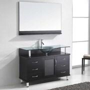 Virtu Vincente 48'' Single Bathroom Vanity Set w/ Tempered Glass Top; Black