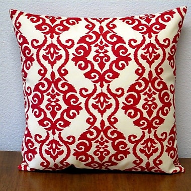 Artisan Pillows Damask Modern Geometric Outdoor Pillow Cover (Set of 2); Red/Off-White