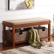 A&J Homes Studio Letha Wood Storage Entryway Bench