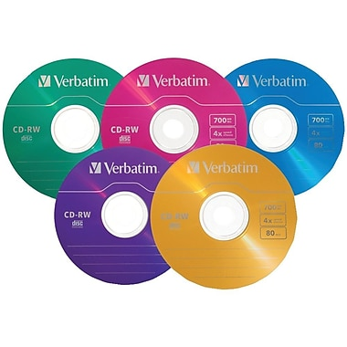 Verbatim DataLifePlus 700 MB 2x-4x CD-RW, Colour Branded Surface, Slim Cases, 20/Pack (94300)