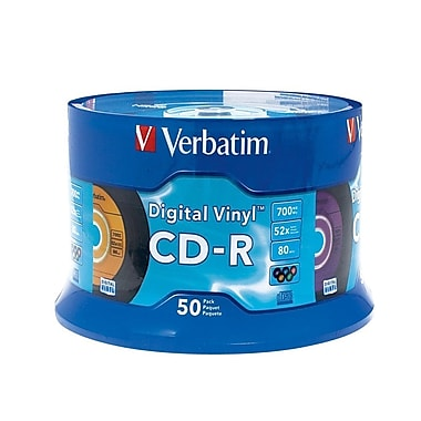 Verbatim 700 MB 52x CD-R, Digital Vinyl Surface, Spindle, 50/Pack (94587)