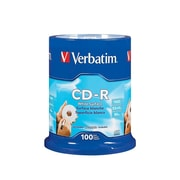 Verbatim 700 MB 52x CD-R, Blank White Surface, Spindle, 100/Pack (94712)