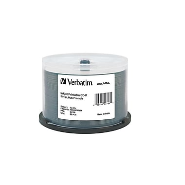 Verbatim DataLifePlus 700 MB 52x CD-R, Silver Inkjet Printable Surface, Spindle, 50/Pack (94798)