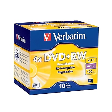 Verbatim 4.7 GB 4x DVD+RW, Branded Surface, Slim Cases, 10/Pack (94839)