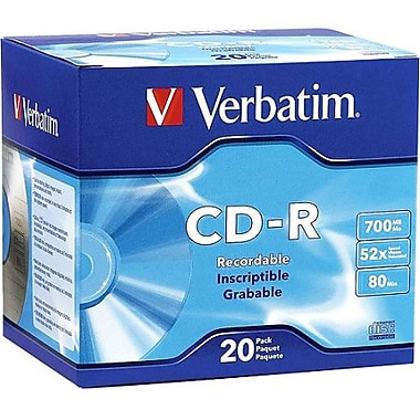 Verbatim 700 MB 52x CD-R, Branded Surface, Slim Cases, 20/Pack (94936)