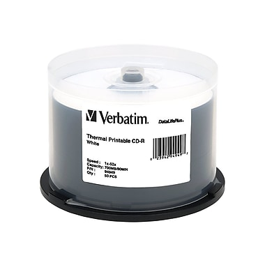 Verbatim DataLifePlus 700 MB 52x CD-R, White Thermal Printable Surface, Spindle, 50/Pack (94949)