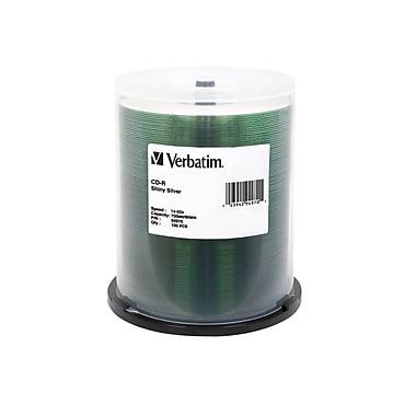 Verbatim – Disques vierges CD-R 52x de 700 Mo, surface argentée brillante imprimable par sérigraphie, carrousel, 100/pqt (94970)