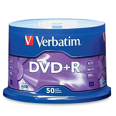 Verbatim 4.7 GB 16x AZO DVD+R, Branded Surface, Spindle, 50/Pack (95037)