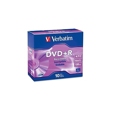 Verbatim 4.7 GB 16x AZO DVD+R, Branded Surface, Slim Cases, 10/Pack (95097)