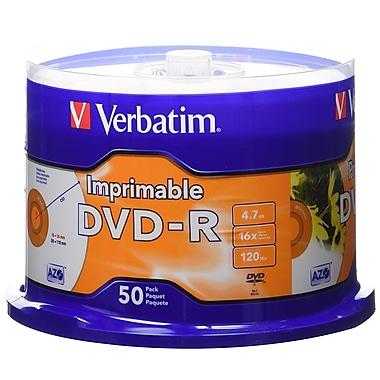 Verbatim – Disques DVD-R 16x, capacité de 4,7 Go, surface blanche imprimable par jet d'encre, carrousel, 50/paquet (95137)