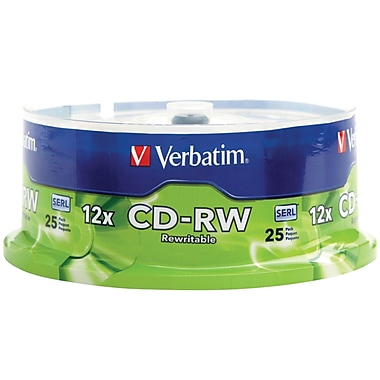 Verbatim 700 MB 4x-12x CD-RW, Branded Surface, Spindle, 25/Pack (95155)