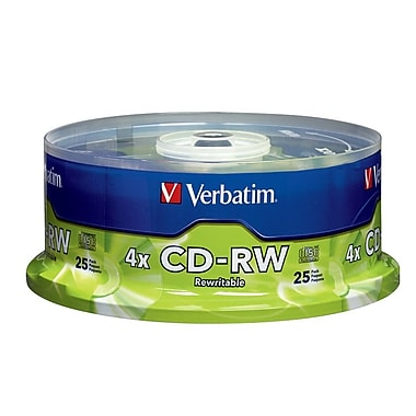 Verbatim 700 MB 2x-4x CD-RW, Branded Surface, Spindle, 25/Pack (95169)