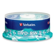 Verbatim 4.7 GB 4x DVD-RW, Branded Surface, Spindle, 30/Pack (95179)
