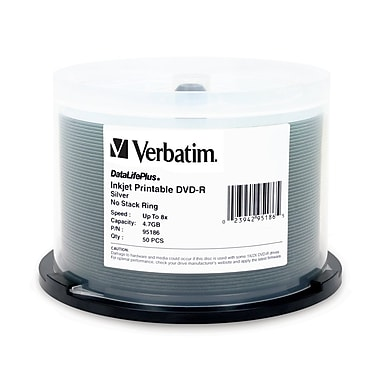 Verbatim 4.7 GB 8x DVD-R, Silver Inkjet Printable Surface, Spindle, 50/Pack (95186)