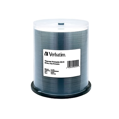 Verbatim 700 MB 52x CD-R, White Thermal Printable Surface, Spindle, 100/Pack (95254)