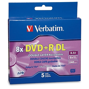 Verbatim 8.5 GB 8x DVD+R, Branded Surface, Jewel Case, 5/Pack (95311)