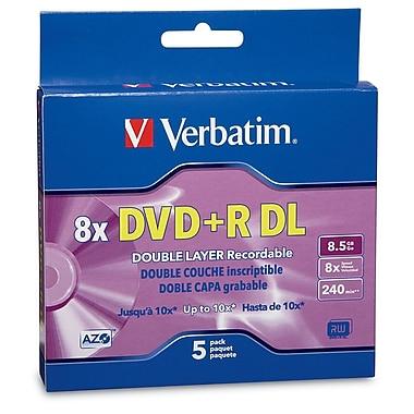 Verbatim – Disques vierges DVD+R 8x, capacité de 8,5 Go, surface estampillée, avec boîtiers, 5/paquet (95311)