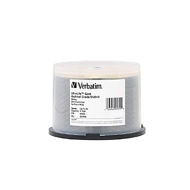 Verbatim 4.7 GB 16x DVD-R, Branded Surface & Hard Coat, Spindle, 50/Pack (95355)