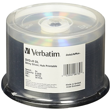 Verbatim DataLifePlus 8.5 GB 8x DVD+R, Shiny Silver Silk Screen Printable Surface, Spindle, 50/Pack (96732)