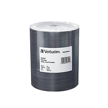 Verbatim DataLifePlus 4.7 GB 16x DVD-R, White Thermal Printable Surface, Spindle, 100/Pack (97015)