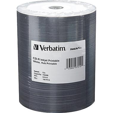 Verbatim DataLifePlus 700 MB 52x CD-R, White Inkjet Printable Surface, Spindle, 100/Pack (97019)