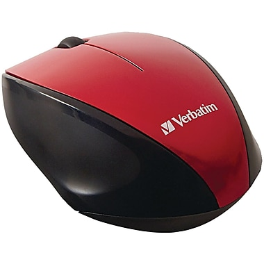 Verbatim Wireless Notebook Multi-Trac Blue LED Mouse, Red (97995)