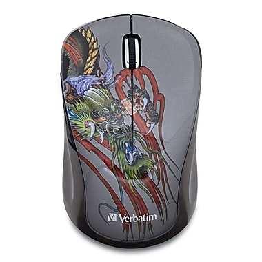 Verbatim Tattoo Series Wireless Multi-Trac Blue LED Mouse, Dragon (98612)