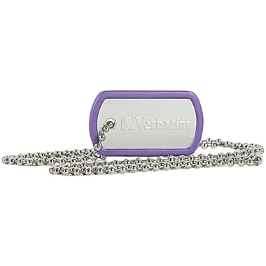 Verbatim 16 GB Dog Tag USB Flash Drive, Violet (98672)