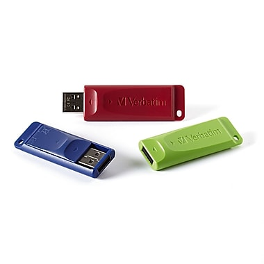 Verbatim 8 GB Store 'n' Go USB Flash Drive, Assorted Colours, 3/Pack (98703)