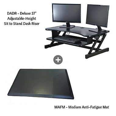Rocelco DADR+MAFM Deluxe Extra-Wide Adjustable-Height Sit/Stand Desk Riser with Medium Anti-Fatigue Standing Mat, Black