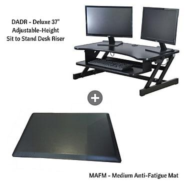 Rocelco – Poste de travail de luxe assis/debout, hauteur réglable, DADR+MAFM avec tapis anti-fatigue moyen, noir