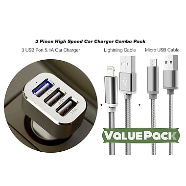 3 Piece High Speed Car Charger Combo Pack - 3 Port 5.1A Car Charger, Lightning Cable, Micro USB Cable