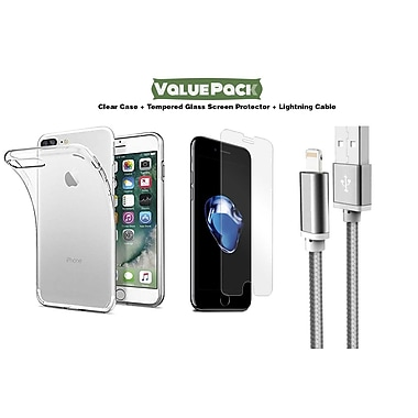 Apple iPhone 7 Plus Value Kit - Clear Case, Tempered Glass Screen Protector and Lightning Cable