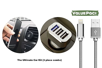 Ultimate Car Kit for iPhone - Magnetic Air Vent Mount, 3 Port USB Car Charger, Lightning Cable